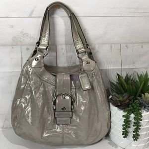 Coach Lynn Soho Metallic Silver Shimmer Hobo Bag